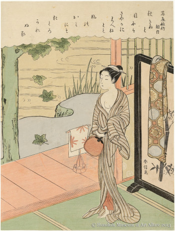 Suzuki Harunobu (1725?-1770) Autumn Wind, after the poem by Fujiwara no Toshiyuki Japan, Edo period, late 1760s Woodblock print; ink and color on paper Gift of James A. Michener, 1991  Honolulu Museum of Art  (21735)