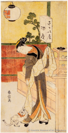 Suzuki Harunobu (1725?-1770) Osode of the Sakaiya Teahouse Japan, Edo period, ca.1769 Woodblock print; ink and color on paper Gift of James A. Michener, 1973  Honolulu Museum of Art (16385)
