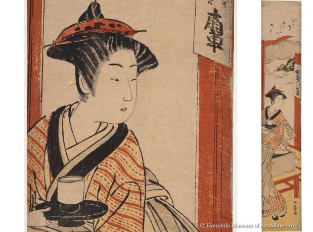 Isoda Koryüsai (1735-1790) The Sakuragawa Teahouse Japan, Edo period, ca.1770 Woodblock print; ink and color on paper Gift of James A. Michener, 1987  Honolulu Museum of Art (20056)