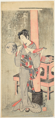 Ippitsusai Bunchö (active ca.1755-1790) Osen of Kasamori Shrine Japan, Edo period, ca.1770 Woodblock print; ink and color on paper Gift of James A. Michener, 1991  Honolulu Museum of Art (21567)
