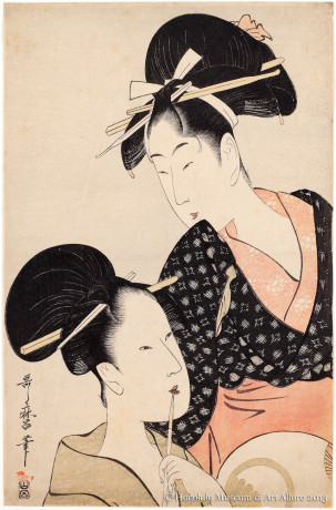 Kitagawa Utamaro (1753-1806) Two Beauties: One Holding a Pipe, the Other a Round Fan  Japan, Edo period, ca.1797 Woodblock print; ink and color on paper Purchase, 1951 Honolulu Museum of Art  (13063