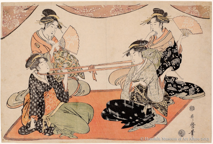 Kitagawa Utamaro (1753-1806) Okita and Ohisa in a Tug-of-war with a Sash Looped Round Their Necks  Japan, Edo period, ca.1793-1794 Woodblock print; ink and color on paper Gift of James A. Michener, 1957  Honolulu Museum of Art  (13909)