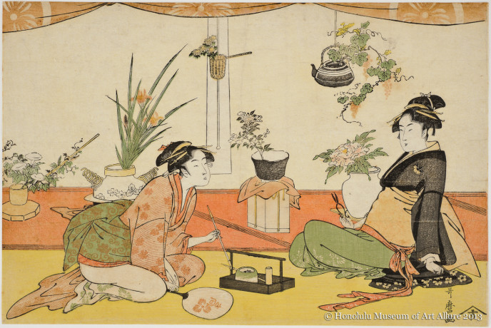Kitagawa Utamaro (1753-1806) Flower Arrangement Contest between Okita and Ohisa Japan, Edo period, ca.1789 Woodblock print; ink and color on paper Gift of James A. Michener, 1957 Honolulu Museum of Art  (14039