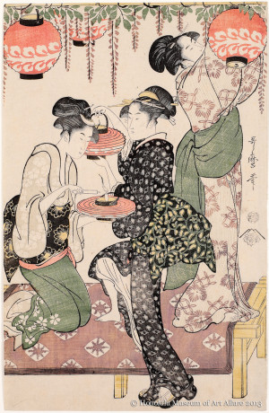 Kitagawa Utamaro (1753-1806) Teahouse Maidens under a Wisteria Trellis Japan, Edo period, ca.1795 Woodblock print; ink and color on paper Gift of James A. Michener, 1973 Honolulu Museum of Art  (16516)