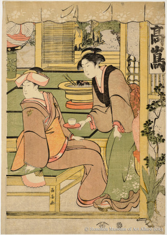Eishösai Chöki (active ca.1780-1809) The Takashimaya Teahouse Japan, Edo period, early 1800s Woodblock print; ink and color on paper Gift of James A. Michener, 1957 Honolulu Museum of Art  (14178)