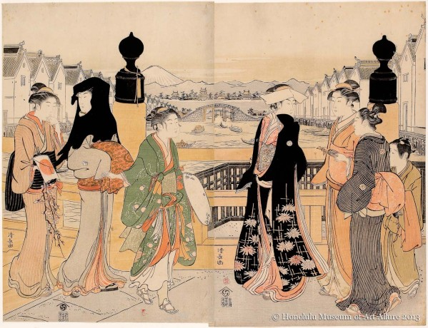 Torii Kiyonaga (1752-1815) Street Traffic at Nihonbashi Japan, Edo period, 1786 Woodblock print diptych; ink and color on paper Gift of James A. Michener, 1991  Honolulu Museum of Art  (21801a-b)
