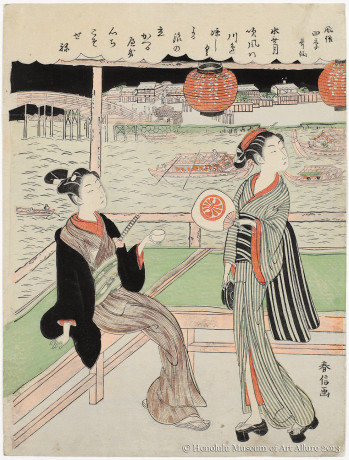 Suzuki Harunobu (1725?-1770) Sixth Month, from the series<bk>Popular Versions of Poetry Immortals in the Four Seasons  Japan, Edo period, c. 1768 Woodblock print; ink and color on paper Gift of James A. Michener, 1959 Honolulu Museum of Art  (14839)