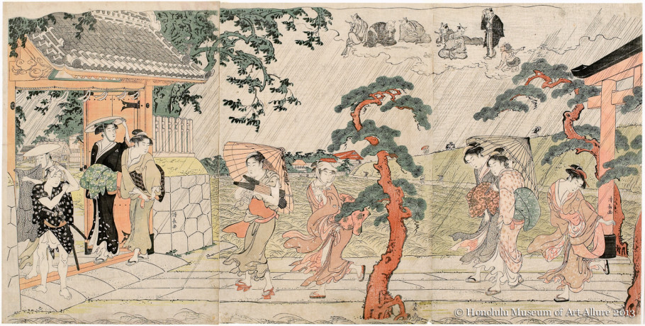 Torii Kiyonaga (1752-1815) A Sudden Squall at Mimeguri Shrine  Japan, Edo period, 1787 Woodblock print triptych; ink and color on paper Gift of James A. Michener, 1991 Honolulu Museum of Art  (21633a-c)