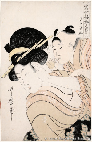 Kitagawa Utamaro (1753-1806) Lover of Loud Noises, from the series Eight Views of Popular Things Japan, Edo period, ca.1800 Woodblock print; ink and color on paper Gift of James A. Michener, 1987  Honolulu Museum of Art  (20013)