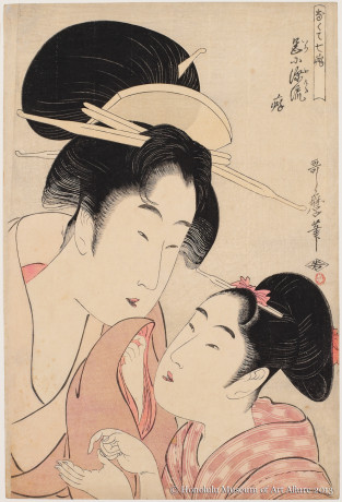 Kitagawa Utamaro (1753-1806) A Weakness for Love, from the series Everyone Has Faults Japan, Edo period, ca.1804 Woodblock print; ink and color on paper Gift of James A. Michener, 1970 Honolulu Museum of Art  (15580