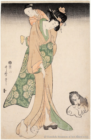 Kitagawa Utamaro (1753-1806) Mother and Child with Puppies Japan, Edo period, ca.1800 Woodblock print; ink and color on paper Gift of James A. Michener, 1987  Honolulu Museum of Art  (20012)