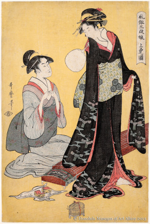 Kitagawa Utamaro (1753-1806) Picture of the Upper Class, from the series Three Ranks of Young Women According to Their Fashions Japan, Edo period, ca.1794-1795 Woodblock print; ink and color on paper Gift of James A. Michener, 1991 Honolulu Museum of Art  (21879)