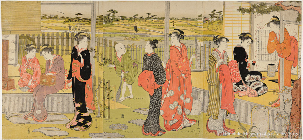Chöbunsai Eishi (1756-1829) Early Afternoon at the Country House  Japan, Edo period, ca.1790 Woodblock print triptych; ink and color on paper Gift of James A. Michener, 1991 Honolulu Museum of Art  (22068a-c)