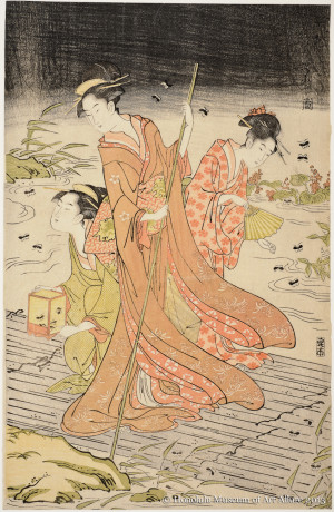 Chöbunsai Eishi (1756-1829) Catching Fireflies on a Raft Japan, Edo period, ca.1790s Woodblock print; ink and color on paper Gift of James A. Michener, 1958 Honolulu Museum of Art  (14207