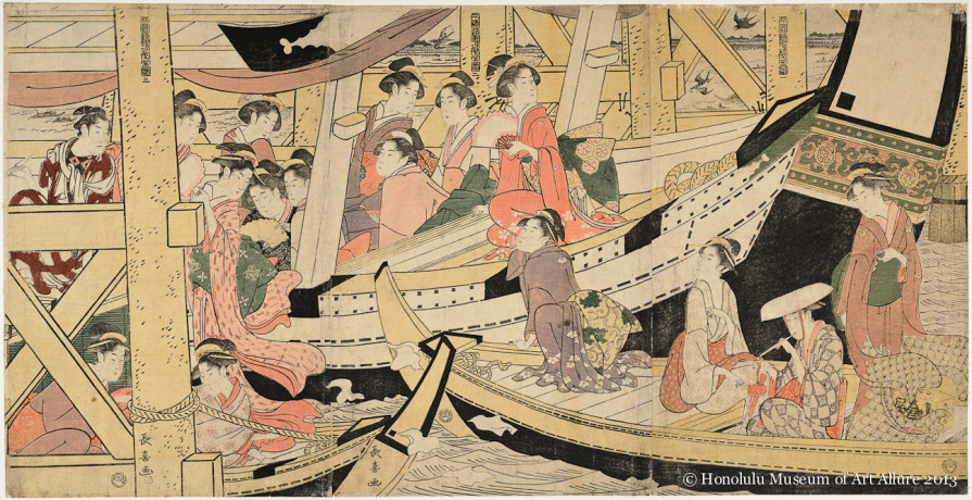 Eishösai Chöki (active ca.1780-1809) Cooling off under Ryögoku Bridge Japan, Edo period, late 1700s-1800s Woodblock print triptych; ink and color on paper Gift of James A. Michener, 1991 Honolulu Museum of Art  (22061a-c)