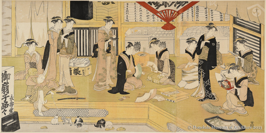 Utagawa Toyokuni I (1769-1825) The Fan Store Eijudö Japan, Edo period, ca.1800 Woodblock print triptych; ink and color on paper Gift of James A. Michener, 1991 Honolulu Museum of Art  (22057a-c)
