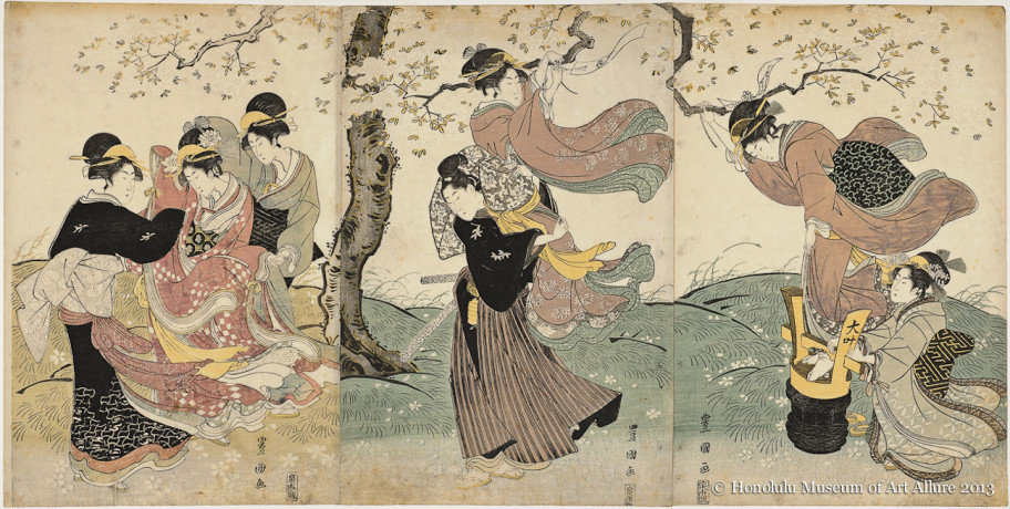 Utagawa Toyokuni I (1769-1825) Flowers in the Wind  Japan, Edo period, ca.1795-1825 Woodblock print triptych; ink and color on paper Gift of James A. Michener, 1955 Honolulu Museum of Art  (13633a-c)