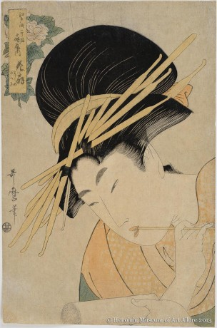 Kitagawa Utamaro (1753-1806) Hanaögi of the Ögiya Brothel House at Edochö Itchöme, from the series  A Comparison of Courtesan Flowers Japan, Edo period, 1801 Woodblock print; ink and color on paper Gift of James A. Michener, 1991 Honolulu Museum of Art  (24515)