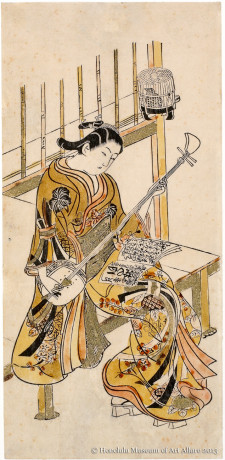 Anonymous Girl Playing Shamisen Japan, Edo period, early 1720s Hand-colored woodblock print; ink and color on paper Gift of James A. Michener, 1991 Honolulu Museum of Art  (21667)