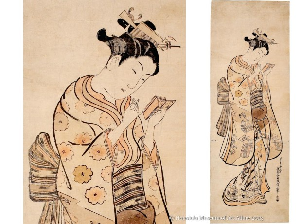 Okumura Masanobu (1686-1764) Beauty with a Mirror Japan, Edo period, mid 1740s Hand-colored woodblock print; ink and color on paper Gift of James A. Michener, 1991  Honolulu Museum of Art (21888)