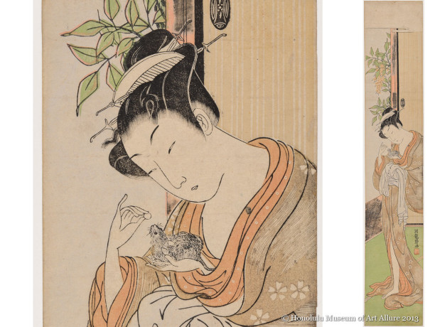 Isoda Koryüsai (1735-1790) Courtesan with Pet Rat Japan, Edo period, ca.1768 Woodblock print; ink and color on paper Gift of James A. Michener, 1991  Honolulu Museum of Art  (23658)