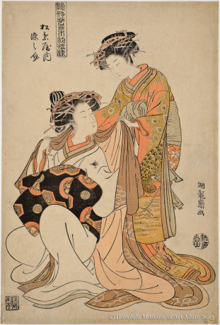 Isoda Koryüsai (1735-1790) Somenosuke of the Matsubaya Brothel House, from the series Courtesans Modeling the New Year's Fashions  Japan, Edo period, ca.1778 Woodblock print; ink and color on paper Gift of James A. Michener, 1973 Honolulu Museum of Art  (16400)