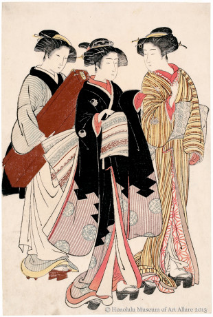 Kitao Shigemasa (1739-1820) A Geisha on Her Way to Work Japan, Edo period, ca.1770s Woodblock print; ink and color on paper Gift of James A. Michener, 1971  Honolulu Museum of Art  (16148)