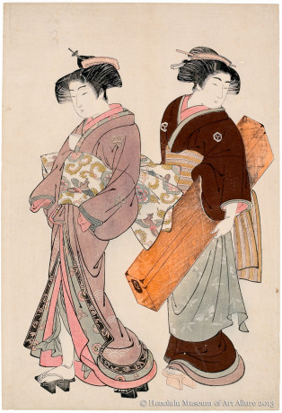 Kitao Shigemasa (1739-1820) A Geisha and Her Servant Japan, Edo period, ca.1777 Woodblock print; ink and color on paper Gift of James A. Michener, 1991 Honolulu Museum of Art  (21756)