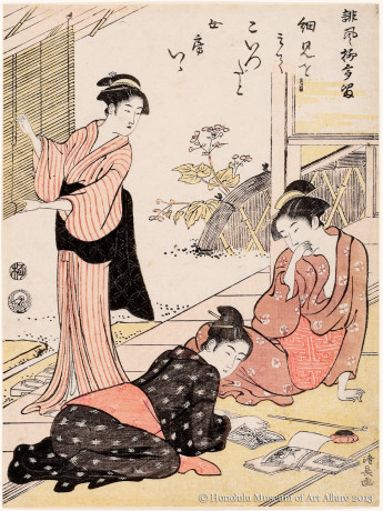 Torii Kiyonaga (1752-1815) Discovering the Address of a Husband's Sweetheart, from the series  A Collection of Humorous Poems Japan, Edo period, 1790 Woodblock print; ink and color on paper Gift of James A. Michener, 1970 Honolulu Museum of Art  (15969)