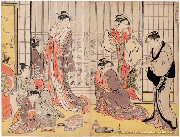 Torii Kiyonaga (1752-1815) Morning Snow at the Brothel House  Japan, Edo period, 1789 Woodblock print diptych; ink and color on paper Gift of James A. Michener, 1991 Honolulu Museum of Art  (21800a-b)