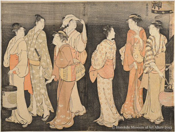 Torii Kiyonaga (1752-1815) The Seventh Month Evening Send-Off,  from the series Twelve Months in the South Japan, Edo period, 1784 Woodblock print diptych; ink and color on paper Gift of James A. Michener, 1991 Honolulu Museum of Art  (24452a-b)