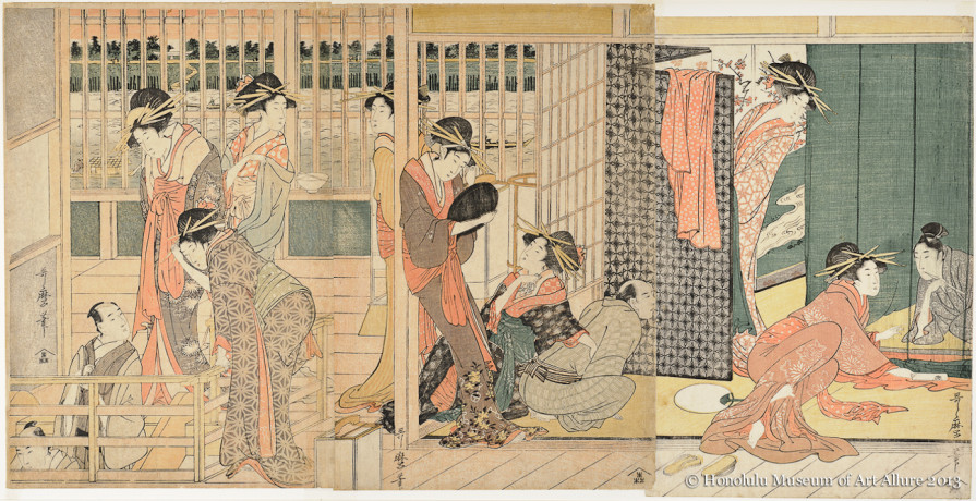 Kitagawa Utamaro (1753-1806) Morning at the Temporary Lodgings  Japan, Edo period, 1801 Woodblock print triptych; ink and color on paper Gift of James A. Michener, 1977 Honolulu Museum of Art  (17153a-c)