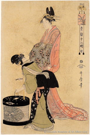 Kitagawa Utamaro (1753-1806) The Hour of the Cock, from the series Twelve Hours in the Yoshiwara  Japan, Edo period, ca.1795-1796 Woodblock print; ink and color on paper Purchase, C. Montague Cooke, Jr. Memorial Collection, 1953 Honolulu Museum of Art  (13253)