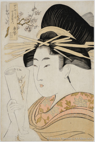 Kitagawa Utamaro (1753-1806) Karagoto of the Brothel House Chöjiya in Edo-chö Nichöme, from the series A Comparison of Courtesan Flowers Japan, Edo period, 1801 Woodblock print; ink and color on paper Gift of James A. Michener, 1959  Honolulu Museum of Art  (14539