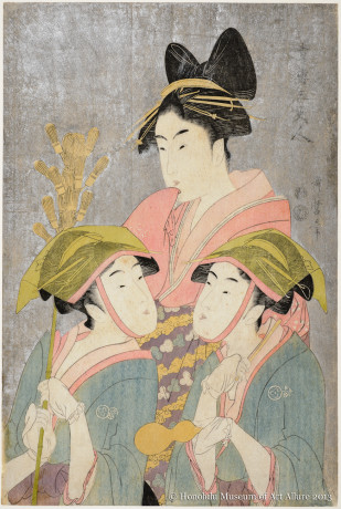 Kitagawa Utamaro (1753-1806) Three Beauties of Yoshiwara Japan, Edo period, 1793 Woodblock print: ink and color on paper Gift of James A. Michener, 1991  Honolulu Museum of Art  (21877)
