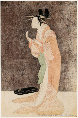 Chöbunsai Eishi (1756-1829) Misayama of the Chöjiya Brothel House in Her Dressing Room, from the series<br /><br /> </i>Beauties in the Pleasure Quarters</i><br /><br /> Japan, Edo period, c. 1795 Woodblock print; ink and color on paper Gift of James Michener, 1954 Honolulu Museum of Art  (13425)
