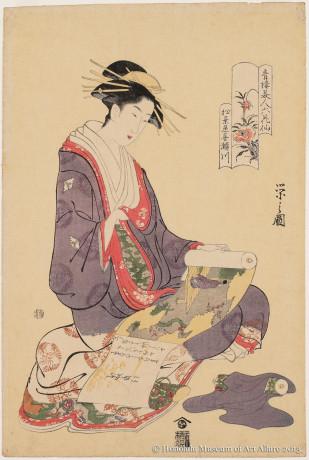 Chöbunsai Eishi (1756-1829) Kisegawa of Matsubaya, from the series  Six Beautiful Flowers of the Pleasure Quarters Japan, Edo period, ca.1795 Woodblock print; ink and color on paper Gift of James A. Michener, 1973 Honolulu Museum of Art  (16378)