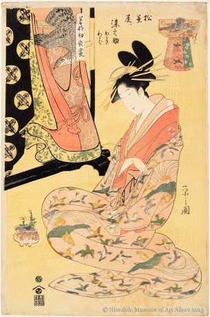 Chöbunsai Eishi (1756-1829) Somenosuke of the Matsubaya, from the series  Courtesans Modeling the New Year's Fashions Japan, Edo period, ca.1800 Woodblock print; ink and color on paper Gift of James A. Michener, 1958 Honolulu Museum of Art  (14204)