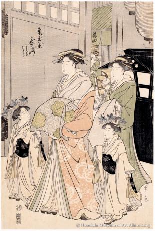 Chöbunsai Eishi (1756-1829) Utaura of Kadotamaya Brothel House Japan, Edo period, ca.1790s Woodblock print; ink and color on paper Gift of Anna Rice Cooke, 1932 Honolulu Museum of Art  (06441)