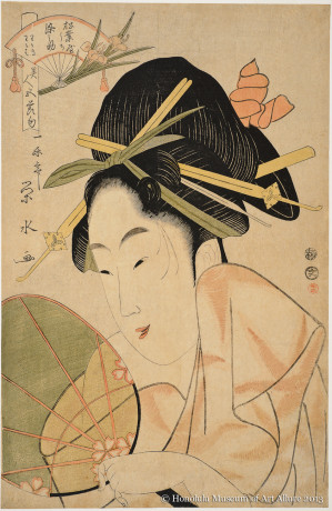 Ichirakutei Eisui (active ca.1795-1803) Courtesan with Fan Japan, Edo period, ca.1800 Woodblock print; ink and color on paper Gift of Anna Rice Cooke, 1933  Honolulu Museum of Art  (09804)